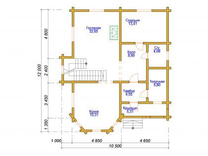 Проект дома, с размерами 10,5х12м.