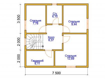 Проект дома, с размерами 7,5х7,5м.